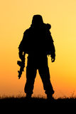 Soldier silhouette Stock Images
