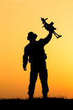 Soldier silhouette Stock Photography