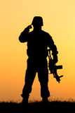 Soldier silhouette Stock Image