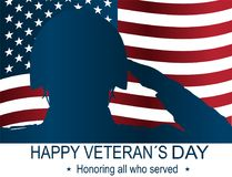 Soldier silhouette saluting the USA flag for memorial day. Happy veteran`s day poster or banners – On November 11. Soldier silhouette memorial day. Happy Stock Photos