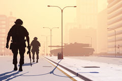 Soldier. Silhouette of the soldier on the streets of a modern city Stock Photos