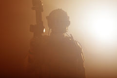 Soldier in the smoke Royalty Free Stock Images