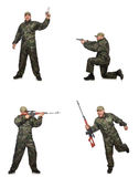 The soldier with sniper rifle  on white Stock Photography