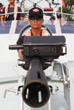 Soldier in the speed boat Stock Photography