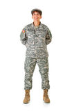 Soldier: Standing at Ease Looking Up. Series with a female as a solidier in an United States Army uniform.  Numerous props convey a variety of concepts Royalty Free Stock Image