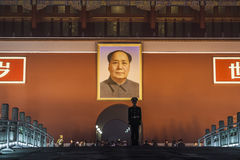 Soldier Standing Guard at Gate of Heavenly Peace, Forbidden City. Soldier Standing Guard, Gate of Heavenly Peace, Tiananmen gate, Portrait of Mao Stock Images