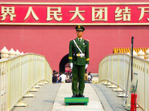 Soldier standing guard on Gold Water Bridge Royalty Free Stock Images