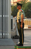 Soldier stands guard at the entrance to Tiananmen square Stock Images