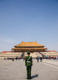 Soldier stands guard at The Forbidden City,beijing Royalty Free Stock Photos