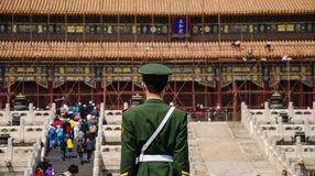 Soldier stands guard at Hall of Supreme Harmony,beijing Royalty Free Stock Images