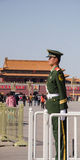 Soldier stands guard at Tiananmen,beijing. People's Armed Police standing guard in front of Tiananmen Gate Of Heavenly Peace in Beijing, China Stock Images