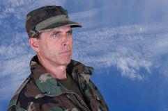 Soldier Staring Ahead Royalty Free Stock Photography