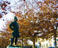 Soldier Statue in the park in autumn Stock Photo