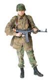 Soldier with submachine gun. Portrait of soldier with submachine gun isolated on white background stock photos