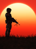 Soldier in the Sunset. This image shows a soldier in the sunset Royalty Free Stock Photos