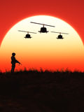 Soldier in the Sunset Royalty Free Stock Image