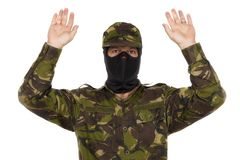Soldier surrenders. Isolated on white background royalty free stock image