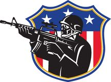 Soldier Swat Policeman Rifle Shield Stock Image