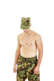 Soldier swat team officer standing proud shirtless Royalty Free Stock Photo