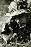 Soldier taking aim straight on Royalty Free Stock Photo