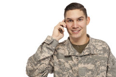 Soldier talking on phone Stock Photography