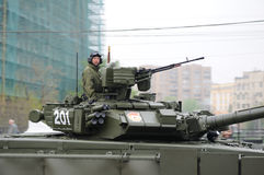 Soldier on tank. Driving on the dress rehearsal of the military parade Stock Photography
