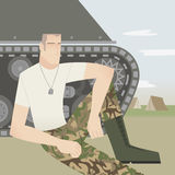 Soldier with tank Stock Images