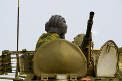 Soldier on the tank stock photos