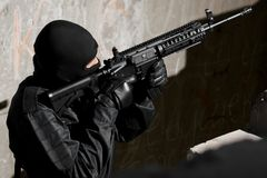 Soldier targeting with a M-4 gun Royalty Free Stock Photo