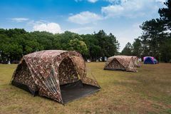 Soldier tent. Soldier pattern camping tent in the field Stock Images