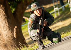 Soldier trainee ready to assault Stock Photography