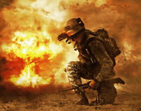 Soldier turning to mushroom cloud. US soldier in the desert during the military operation turning to nuclear explosion mushroom cloud covering his eyes. He is Royalty Free Stock Image