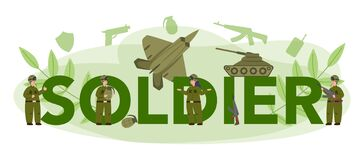 Free Soldier Typographic Header. Millitary Force Employee In Camouflage Stock Photography - 191185712