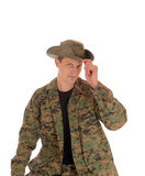Soldier in uniform and hat.. Stock Photography