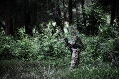 Soldier uniform hold weapon. Solider wear uniform hold on the shoot gun stock photo
