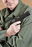 Soldier in uniform holding gun royalty free stock photos