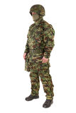 Soldier in uniform isolated on white Royalty Free Stock Images