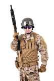 Soldier in uniform, ready to fight. Soldier in uniform, isolated on white background Stock Photography