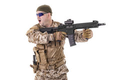 Soldier in uniform, ready to fight Royalty Free Stock Photos