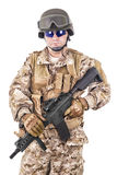 Soldier in uniform, ready to fight Stock Image