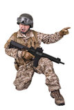 Soldier in uniform, ready to fight. Soldier in uniform, isolated on white background Royalty Free Stock Images