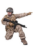 Soldier in uniform, ready to fight. Soldier in uniform, isolated on white background Stock Photo