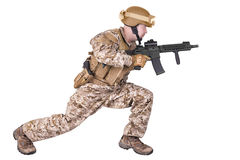 Soldier in uniform, ready to fight. Stock Photography