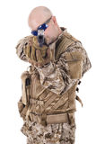Soldier in uniform, ready to fight. Soldier in uniform, isolated on white background. Selected focus on gun Stock Photo
