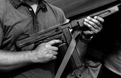 Soldier in uniform with a submachine gun Stock Image
