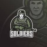 Soldier vector mascot logo design with modern illustration concept style for badge, emblem and tshirt printing. soldier stock illustration