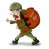 Soldier. Very tired vector soldier with big bag Royalty Free Stock Photo
