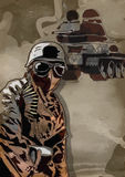 Soldier. Vintage picture from the series: World between 1905-1949 --- The dark soldier front of the tank --- A hand drawn illustration converted into vector (3 Royalty Free Stock Photos