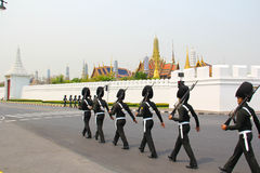 Soldier walk around Wat Phra Kaeo. An unidentified name Soldier : The full-dress procession rehearsal for the royal cremation of Her Royal Highness Princess Stock Photography