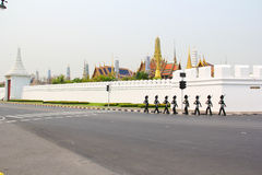Soldier walk around Wat Phra Kaeo Stock Photos
